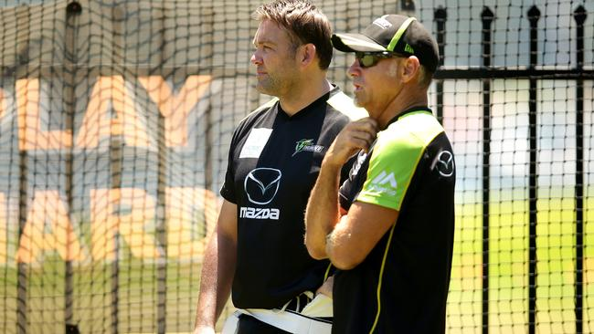 Sydney Thunder all-rounder Jacques Kallis (L) with fellow South African Paddy Upton. Picture: Gregg Porteous.