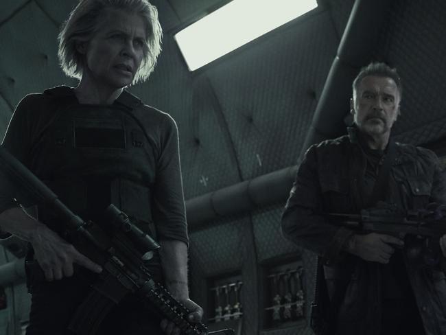 Linda Hamilton and Arnold Schwarzenegger in a scene from the movie Terminator: Dark Fate. Supplied by Paramount Pictures.
