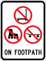 Travel past no-wheeled recreational device or toys sign ($120 fine). 2018-19: one caution