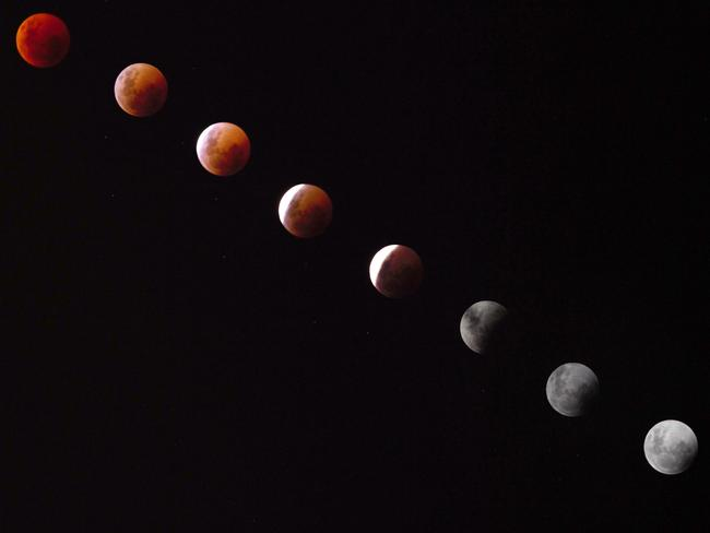 Composite image of the blood moon as seen over Sydney. Picture: Weiping Ma