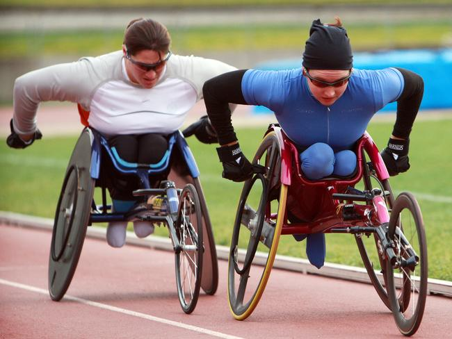 Retired Paralympian Louise Sauvage (left) is Ballard's friend, coach and role model.