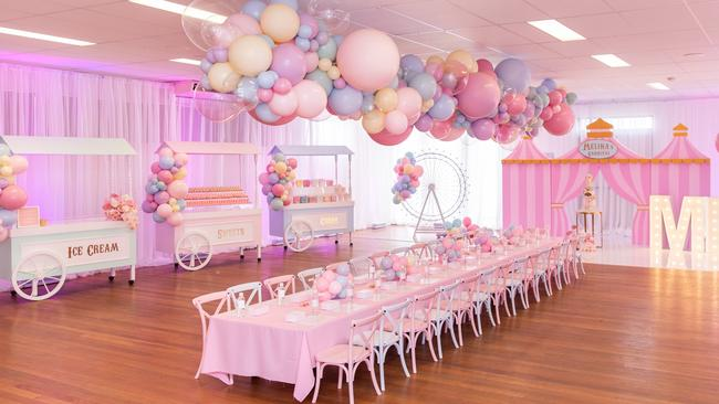 Amy Movsisian, a party planner and florist, recently created this stunning event for her seven-year-old daughter Melina. Picture: Supplied/Hazal Memories