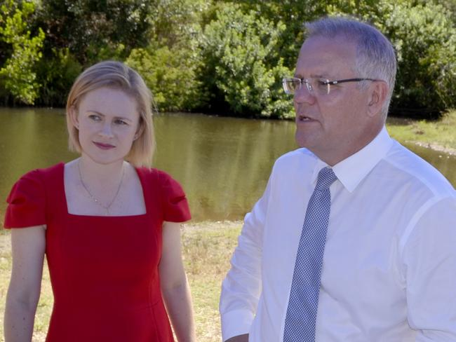 Senator Amanda Stoker and Prime Minister Scott Morrison. Picture: David Alexander