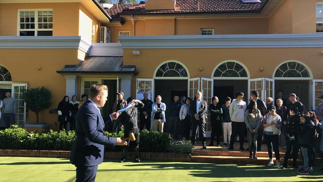 DiJones auctioneer Rob Ward at the sale of 62 Pymble Ave, Pymble. Picture: DiJones
