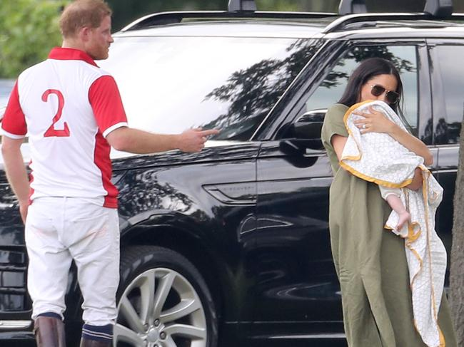 The royal couple were at a polo event when Archie made his first public appearance. Picture: Getty Images