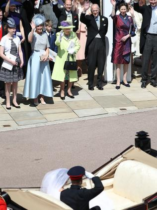 The Queen and co. farewells the new Duke and Duchess of Sussex. Picture: AP