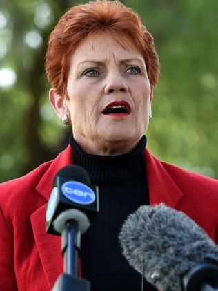 Queensland Senator-elect, One Nation's Pauline Hanson, takes questions from the media. Picture: AAP