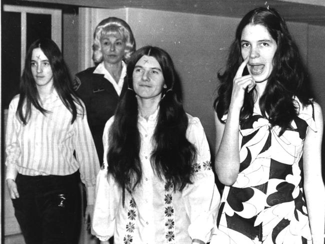 Three Manson Family girls — Patricia Krenwinkel, Susanne Denise Atkins and Leslie Van Houten — arrive in court in 1971. Picture: Photo United Press International