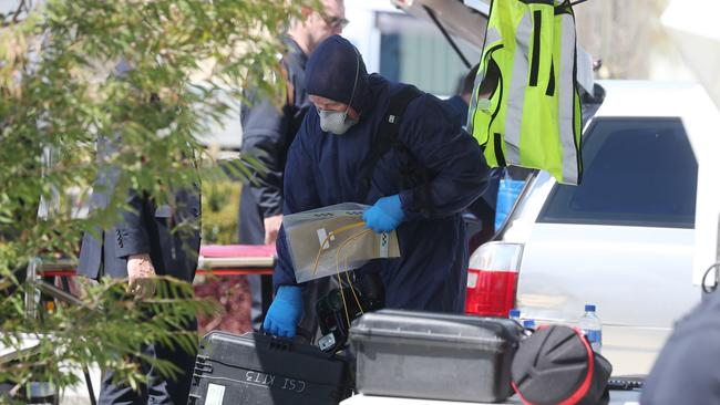 Police investigate the two deaths in Madeley. Picture: Daniel Wilkins