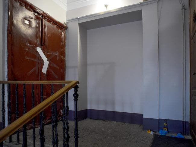 The sealed entrance door of the Russian historian's apartment in Saint Petersburg. Picture: Olga Maltseva/AFP