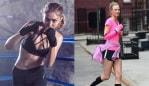 Image 1: Gig Hadid X Reebok. Image 2: Karli Kloss running.
