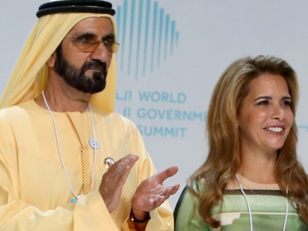 heikh Mohammed bin Rashid al-Maktoum (L), Vice President and Prime Minister of the United Arab Emirates and ruler of Dubai, and his wife Princess Haya bint al-Hussein in 2018. Picture: AFP