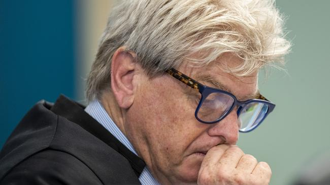 Judge, Justice Simon Moore listens to defence arguments at Auckland High Court yesterday in Auckland, New Zealand.