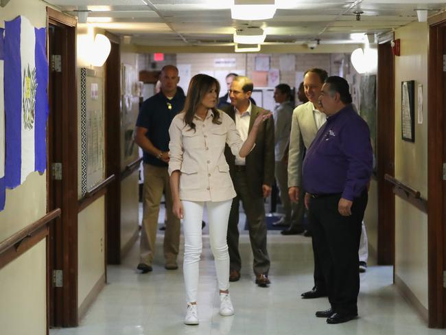 Melania Trump talked to doctors and social workers at a children's detention centre in Texas. Picture: Getty Images/AFP