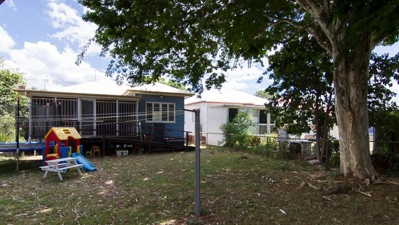 The backyard of the house at 77 McConaghy St, Mitchelton, before it was renovated.