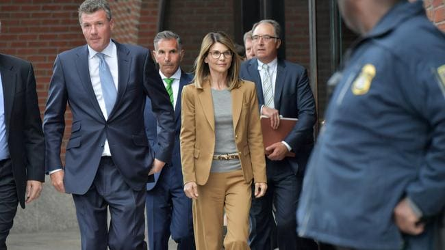 Lori Loughlin exits the John Joseph Moakley US Courthouse after appearing in Federal Court to answer charges stemming from the college admissions scandal on April 3, 2019 in Boston, Massachusetts. Picture: Paul Marotta/Getty Images