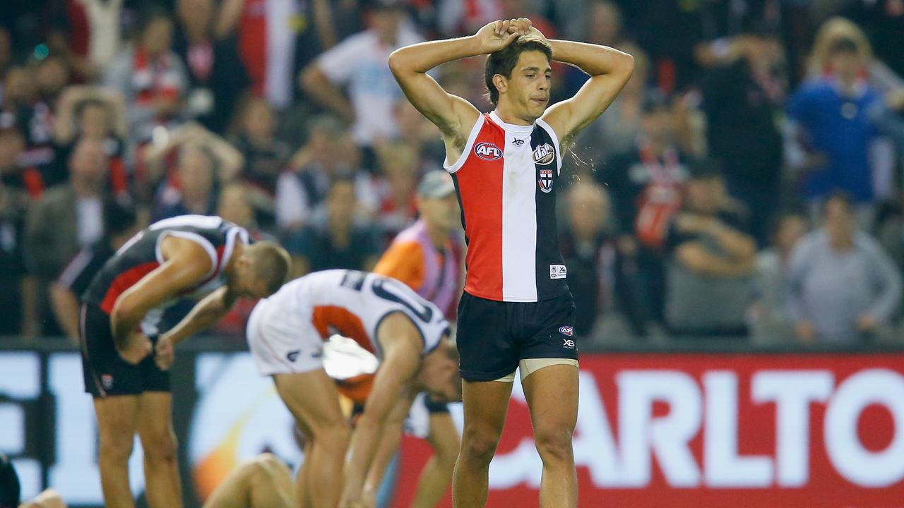 Ben Long after the final siren against Greater Western Sydney.