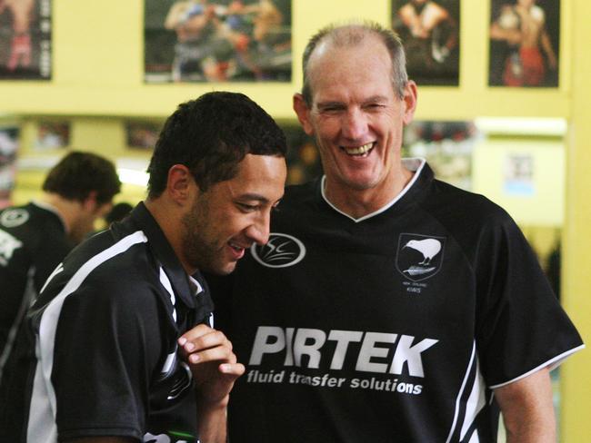 Benji Marshall with Wayne Bennett in Kiwi camp.