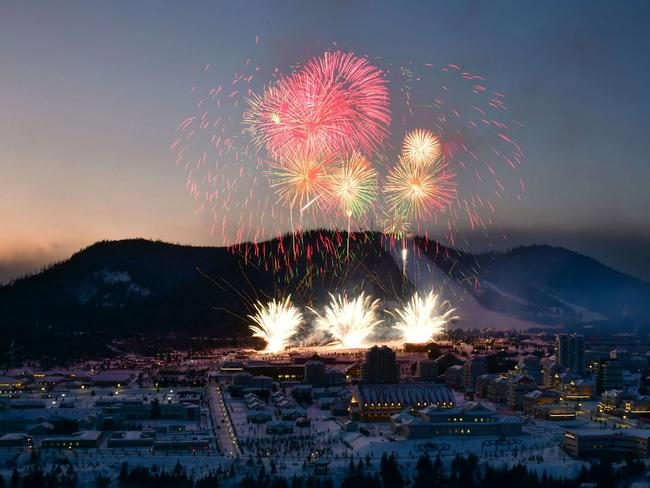 Fireworks during the opening ceremony. Picture: STR/various sources/AFP