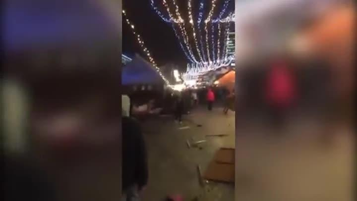 A man filmed the wreckage of the truck that crashed into the night markets in Berlin