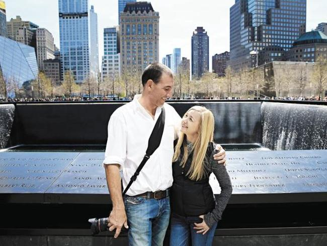 Nathan and Jen when they visited Ground Zero together. It was Jen's first time she had been back there since 2001. Picture: Toby Zerna