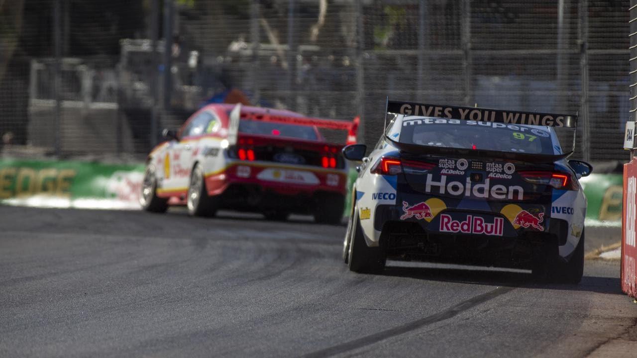 Shane van Gisbergen chases Scott McLaughlin in Race 1 in Adelaide. Pic: Edge Photographics