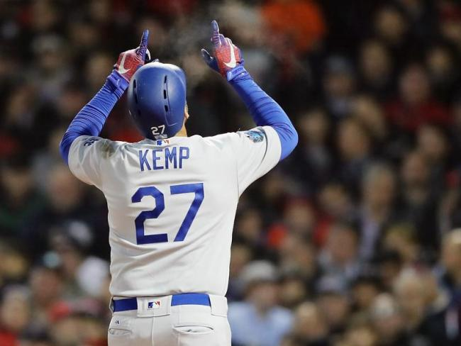 Los Angeles Dodgers slugger Matt Kemp celebrates a home run.