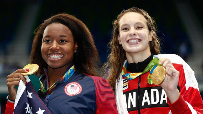 Rio gold medalist Penny Oleksiak (R) will be Campbell's main foe on the Gold Coast