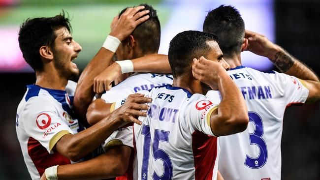 Andrew Nabbout and the Jets celebrate. (AAP Image/Brendan Esposito)