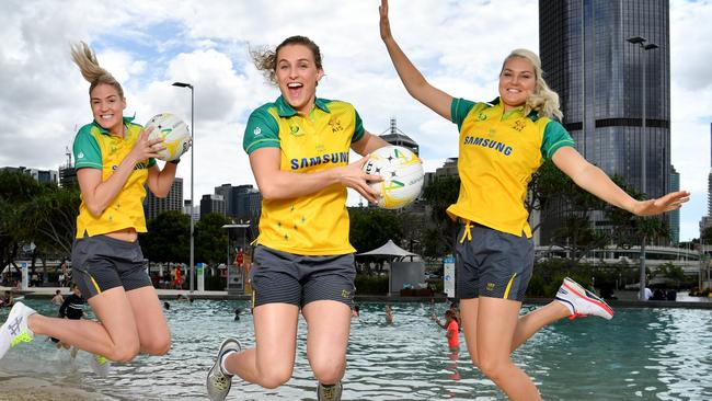 Australian Diamonds players Caitlin Bassett (left), Gabi Simpson (centre) and Gretel Tippett (right) in Brisbane preparing for the clash with New Zealand. (AAP Image/Darren England)