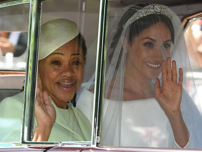 Meghan Markle and her mother, Doria Ragland, arrive for her wedding ceremony to marry Britain's Prince Harry. Picture: AFP/Oli Scarff