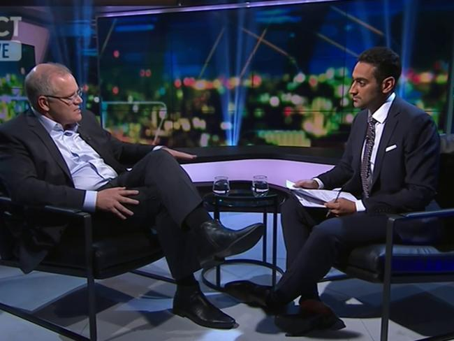 Waleed Aly and Scott Morrison on  <i>The Project</i>. Picture: Channel Ten