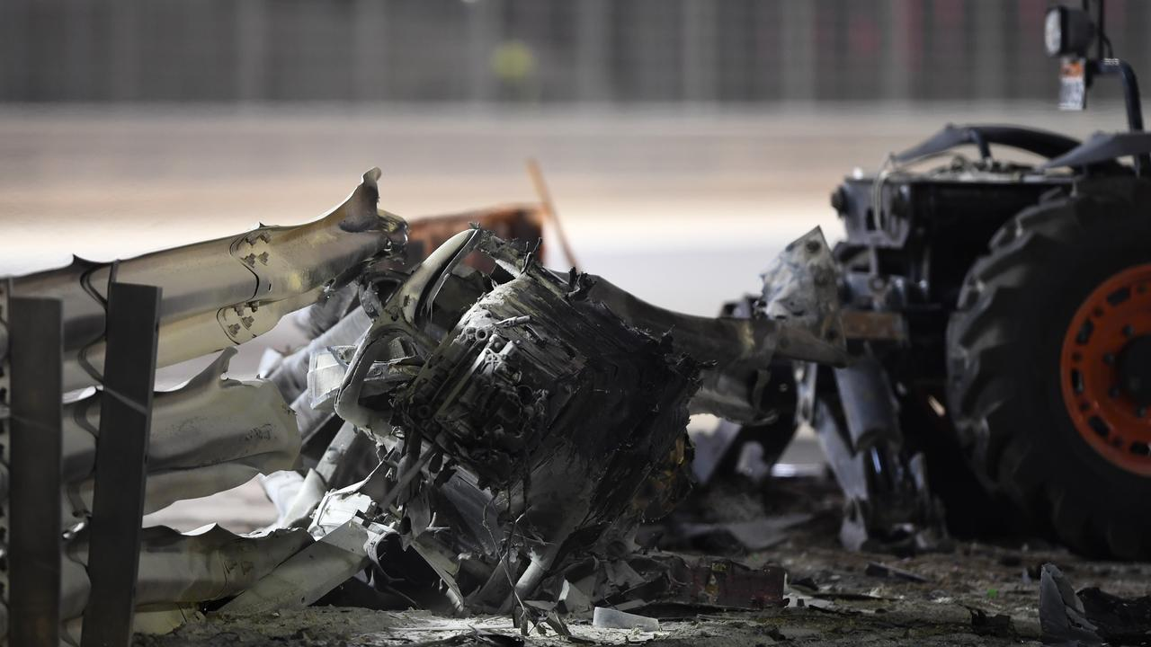 Debris following the crash of Romain Grosjean.(Photo by Rudy Carezzevoli/Getty Images)