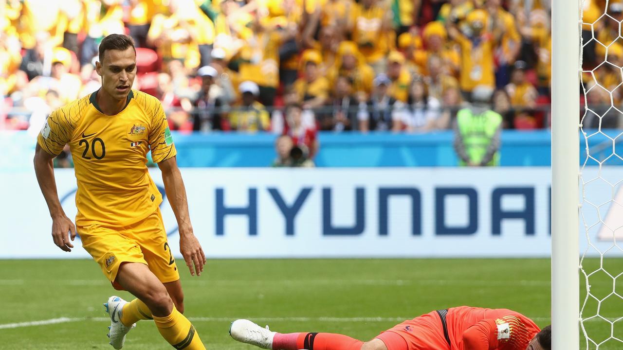 Besides Mile Jedinak's penalty, Trent Sainsbury had the best of Australia's rare chances on goal against France.