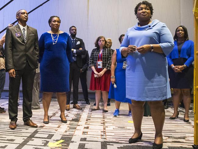 Georgia candidate for governor Stacey Abrams, right, is in a tight contest with Brian Kemp. Picture: Alyssa Pointer/Atlanta Journal-Constitution via AP