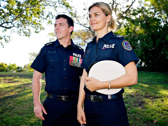 Constable Zach Rolfe (left) with and Senior Constable 1st Class Kirstina Jamieson, who were both recognised for their outstanding service to the community at the Royal Life Saving Northern Territory Awards in 2018.