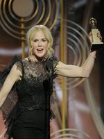 """Nicole Kidman accepts the award for Best Performance by an Actress in a Limited Series or Motion Picture Made for Television for """"Big Little Lies"""" during the 75th Annual Golden Globe Awards. Picture: AP"""