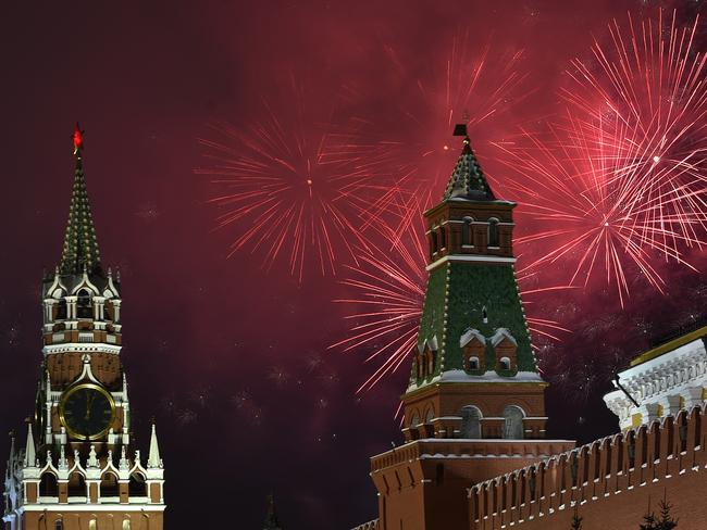 Fireworks explode over the Kremlin in Moscow during New Year celebrations. Picture: AFP