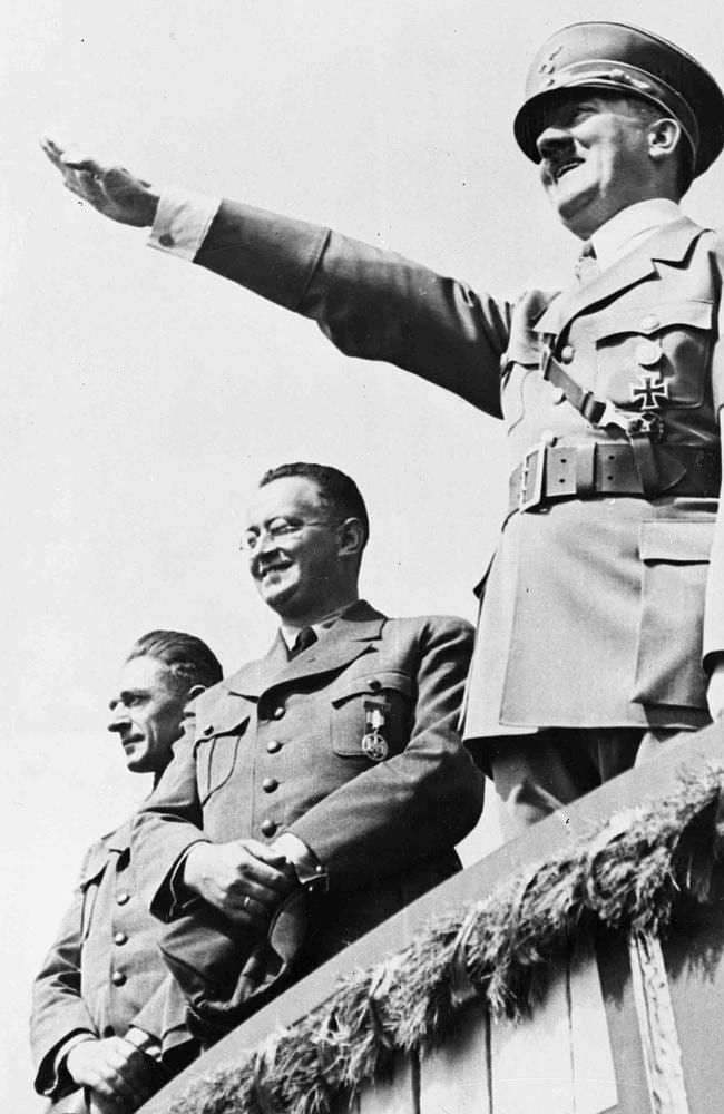 German Chancellor Adolf Hitler salutes a huge crowd at a sports meeting in Breslau, Germany. Picture: AP