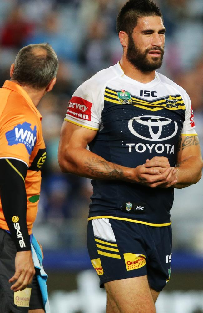 James Tamou goes off injured against the Bulldogs. Pic: Gregg Porteous