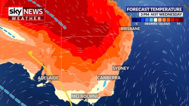Inland areas of NSW and Queensland got near to 43C on Wednesday. Picture: Sky News weather.