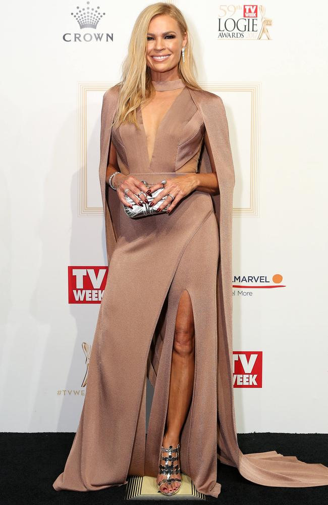 Sonia Kruger in her daring gown on the red carpet. Picture: Julie Kiriacoudis