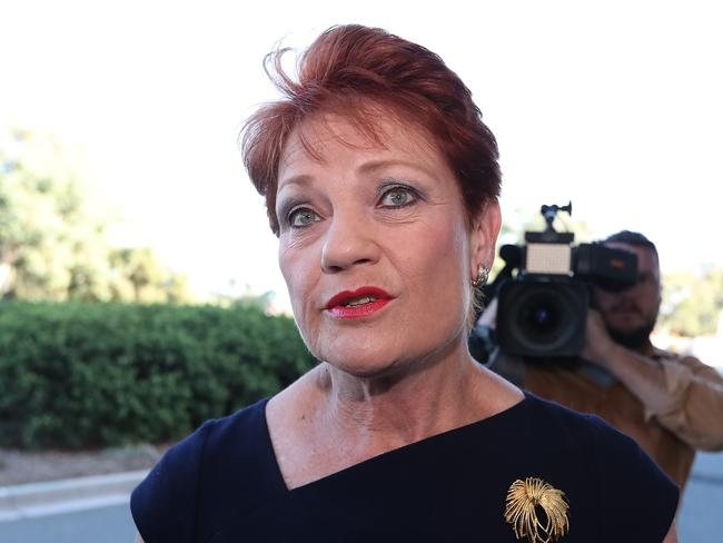 Senator Pauline Hanson arrives at Parliament House in Canberra. Picture: Kym Smith