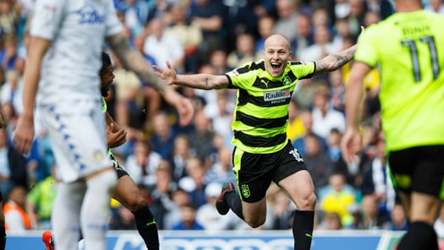 Aaron Mooy celebrates a goal against Leeds.