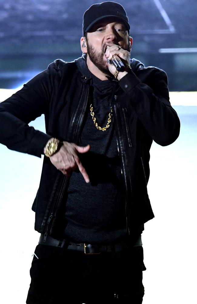 Eminem received a standing ovation following the performance. Picture: Getty Images.