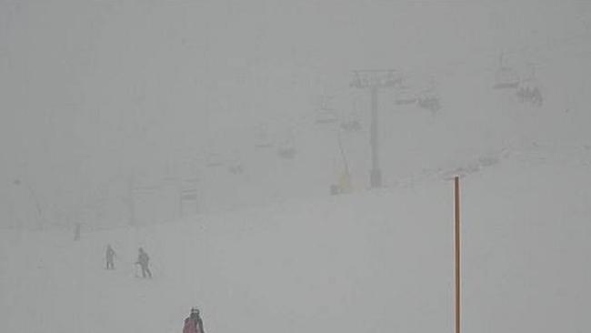 The same spot today, as the cloud and snow ahead of the Antarctic Vortex roars its way in. Pic: Perisher.com.au.