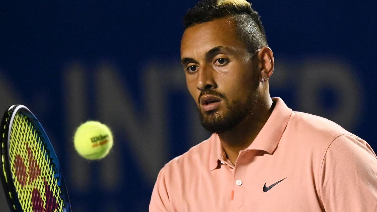 """Outspoken Nick Kyrgios pulled out of the US Open, saying he was giving it a miss for """"the hundreds of thousands of Americans who have lost their lives"""". (Photo by PEDRO PARDO / AFP)"""