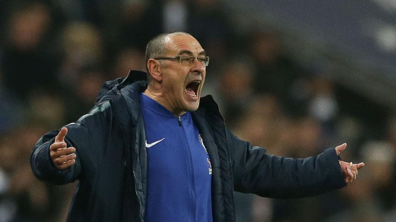 Chelsea's Italian head coach Maurizio Sarri gestures from the touchline