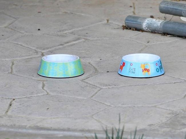 Dog bowls seen in exterior photographs taken of the Turpin family home in Perris, California. Picture: Stewart Cook/The Sun