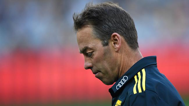 Hawthorn coach Alastair Clarkson during the loss to Geelong. (AAP Image/Julian Smith)